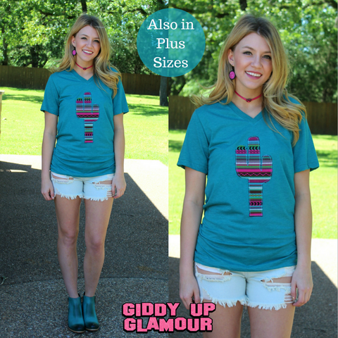 Andi Aztec Cactus Short Sleeve Tee in Teal
