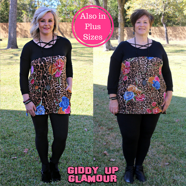 No Speculation Leopard and Floral Print Tunic