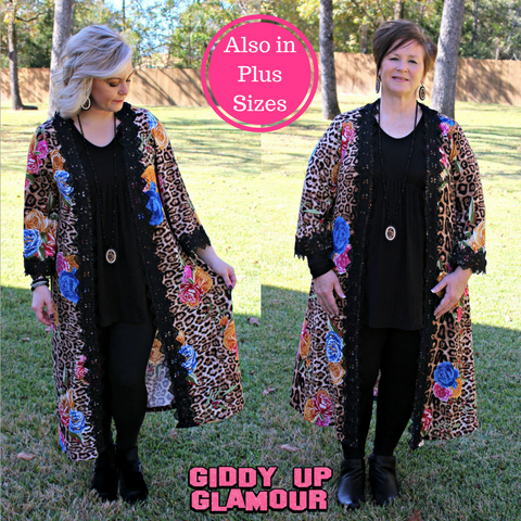 6d74f24aa71 Wow The Crowd Leopard and Floral Duster Cardigan ...