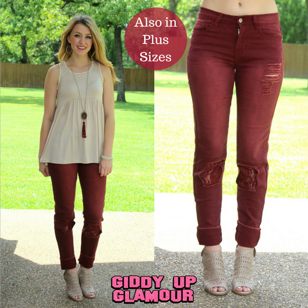 Express Yourself Lace Jeans in Maroon
