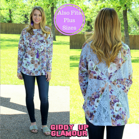 One Sweet Day Floral Piko Top with Lace Panel Back in Powder Blue