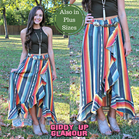 Current Obsession Serape Ruffle Skirt in Black