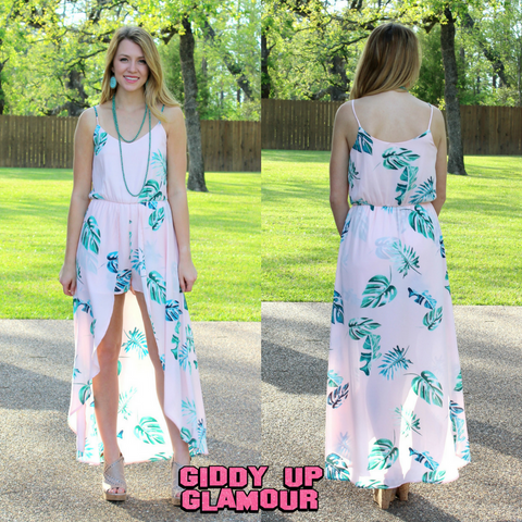 a55c971a9c45 Take Me To The Tropics Palm Leaf Maxi Romper in Light Pink ...