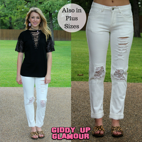 Infinite Love Distressed Boyfriend Jeans with Lace in White