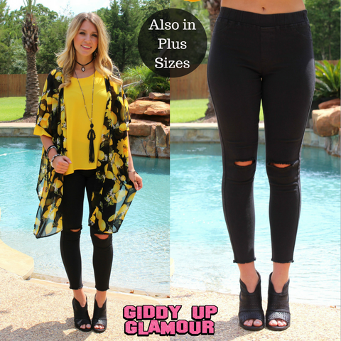 All Purpose Black Slit Knee Skinny Jeans