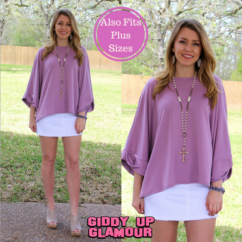 Casual Comfort Oversized Short Sleeve Sweatshirt in Lavender