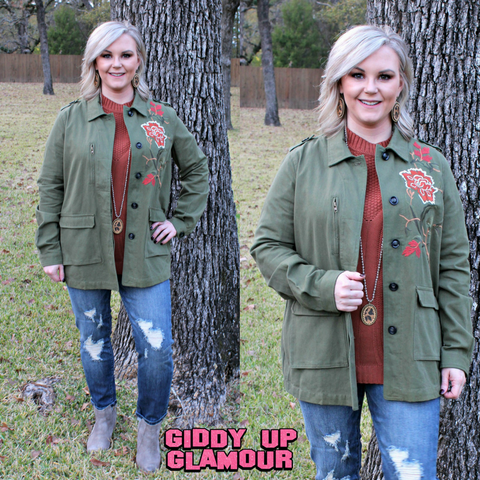Complete The Look Floral Embroidered Military Jacket in Olive Green