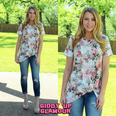 All Tied Up Floral Short Sleeve Tee Shirt in Ivory