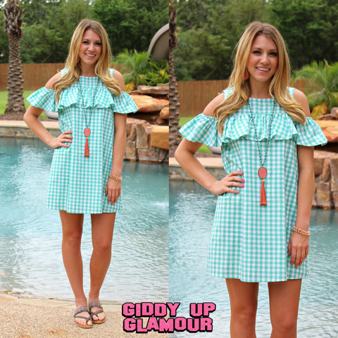 Gingham Girl Open Shoulder Ruffle Dress in Mint Green