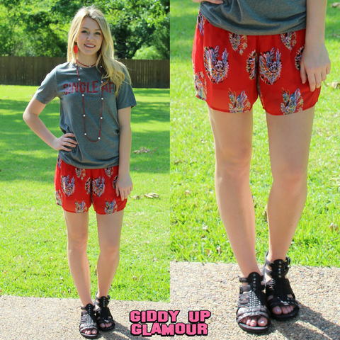 Little Miss Chief Indian Shorts in Red