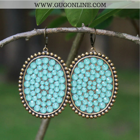 Pink Panache Bronze Oval Earrings with Solid Crystals in Candy Mint