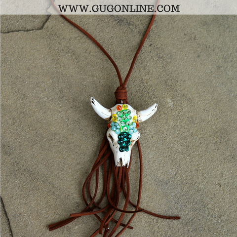 Cactus Crystal Skull Necklace with Tassel on Brown Leather
