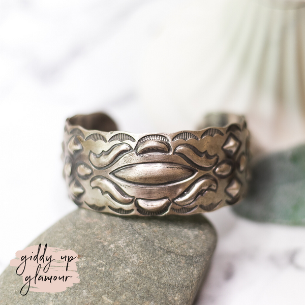 tim yazzie fish stamped sterling silver oxidized cuff bracelet heritage style turquoise and co turqoise and teepees lil bees bohemian native american indian navajo zuni nations