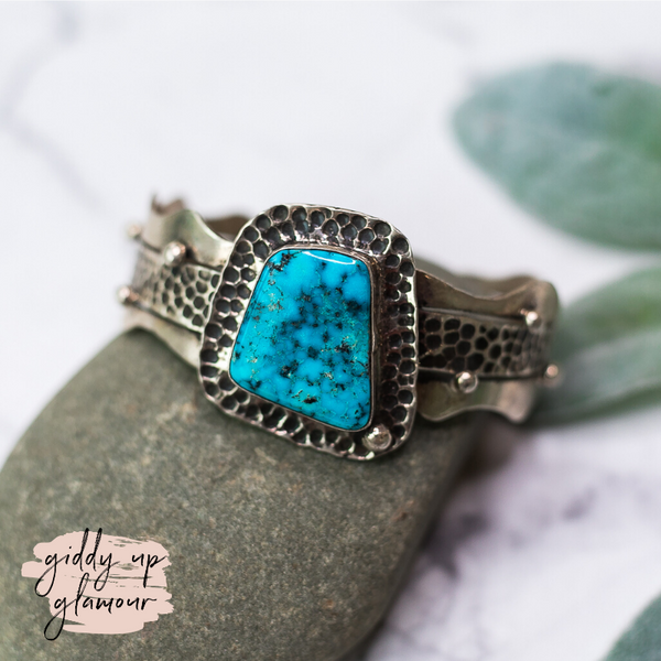 Betta Lee sterling silver stamped eched cuff bracelet with kingman turquoise mined sleeping beauty navajo zuni nations native american indian handmade handcrafted heritage style turquoise and co lil bees bohemian c rivers designs