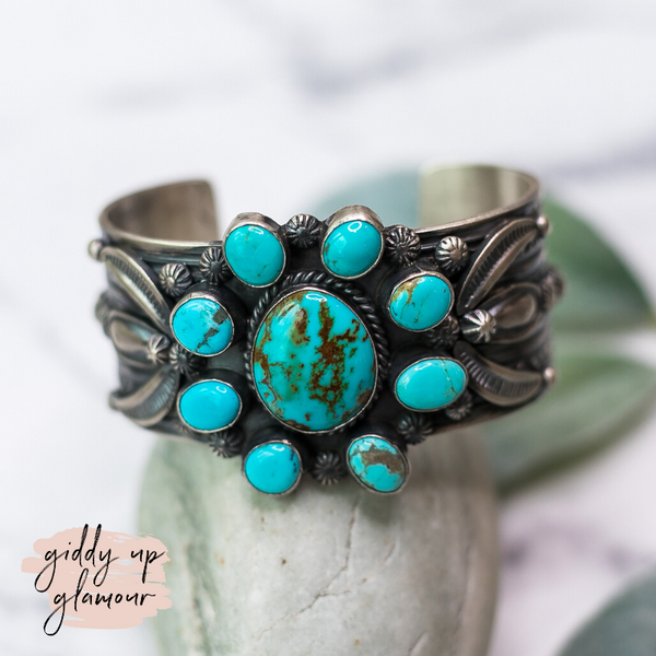 Gilbert Tom genuine authentic flower cluster oxidized sterling silver cuff bracelet kingman turquoise heritage style c rivers design lil bees bohemian turquoise and teepees our lady turquoise