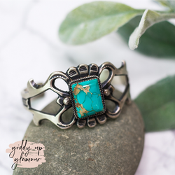 Martha Cayatineto sterling silver genuine authentic handmade handcrafted oxidized cuff bracelet with rectangle kingman turquoise stone at center heritage style turquoise and co c rivers design lace cactus bohemian saddle tramp brand