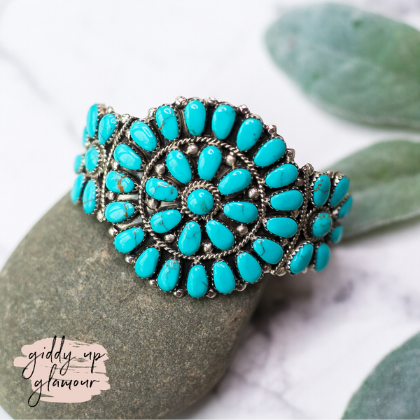 Pamela Benally Juliana Williams zuni navajo nations native american indian handmade handcrafted sterling silver genuine authentic turquoise stone cluster cuff bracelet heritage style turquoise and co c river designs love token jewelry