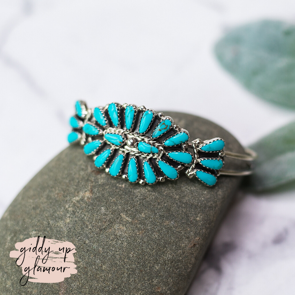 Genuine Sterling Silver Indian Handcrafted Navajo Nations Turquoise Flower Design Cluster Cuff Real Turquoise Jewelry Handmade in USA Native American Jewelry Royston Kingman Turquoise Carico Bracelet Heritage Style Turquoise and Co