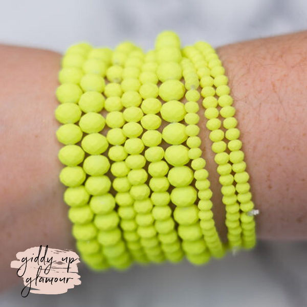 Nine Piece Crystal Bracelet Set in Neon Yellow