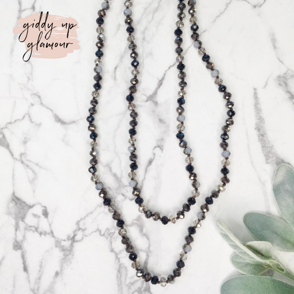 60 Inch Long Layering 8mm Crystal Strand Necklace in Grey and Black