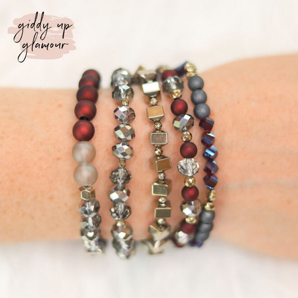 Erimish | Nuget Jar | Stackable Crystal Bracelets in Burgundy and Silver