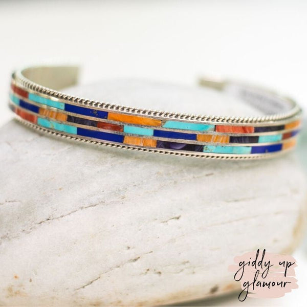 Wilson Dawes | Authentic Navajo Multi Stone Inlay Cuff Bracelet