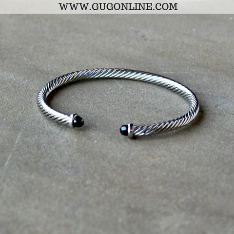 Small Silver Cable Bracelet with Black Cabochon Ends