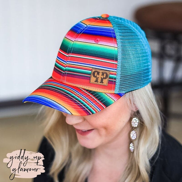 Pink Panache | Multi Colored Serape Print Baseball Cap with Turquoise Mesh Back