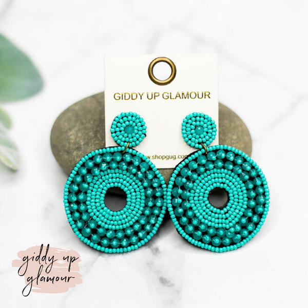 Seed Bead Circle Drop Earrings in Turquoise