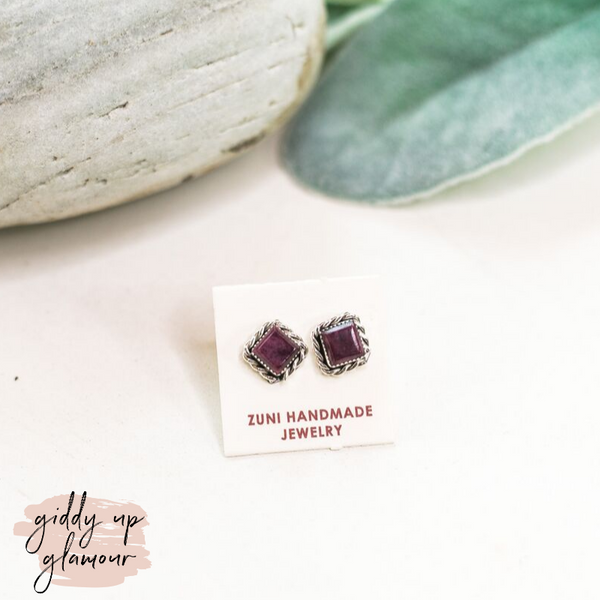 Zuni | Genuine Navajo Square Stud Earrings in Purple Spiny Oyster