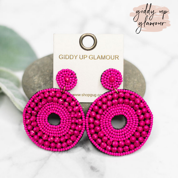 Seed Bead Circle Drop Earrings in Fuchsia