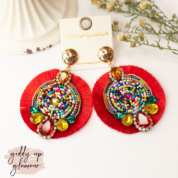 Fancy Fan Circle Beaded and Crystal Earrings in Red