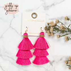 Three Tiered Tassel Earrings in Hot Pink
