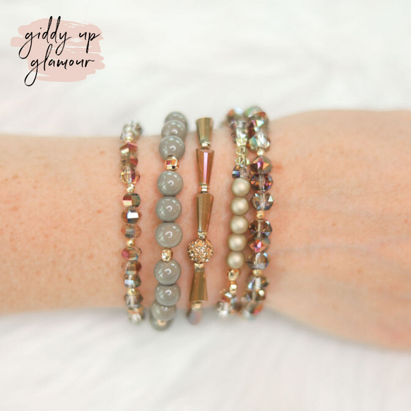 Erimish | Palmer Jar | Stackable Crystal Bracelets in Taupe and Gold