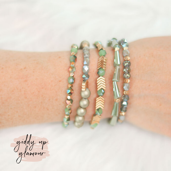 Erimish | Haven Jar | Stackable Crystal Bracelets in Green and Gold