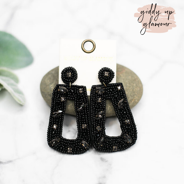 Seed Bead Rectangle Drop Earrings with Crystals in Black