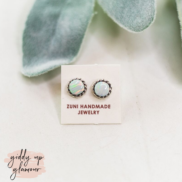 Zuni | Genuine Navajo Round Circle Stud Earrings in Opal
