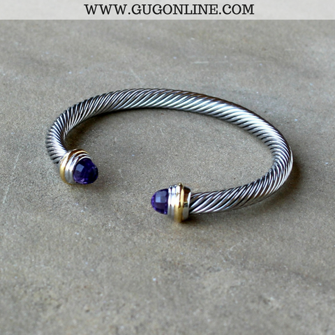 Silver Cable Bracelet with Purple Cabochon Ends