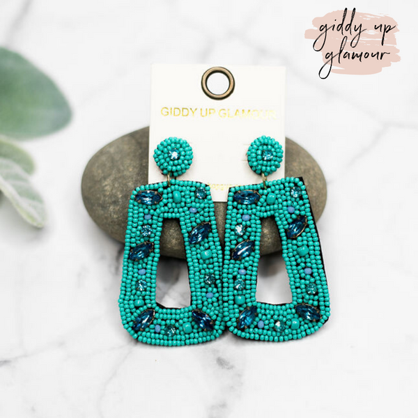 Seed Bead Rectangle Drop Earrings with Crystals in Turquoise