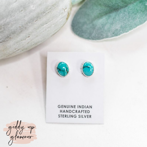 Navajo | Genuine Turquoise Round Stud Earrings