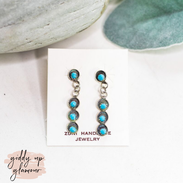 Zuni | Genuine Navajo Sterling Silver Oxidized Bar Drop Earrings with Turquoise Petit Point