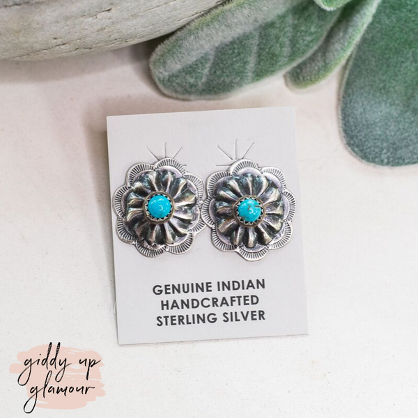 Joann Begay | Genuine Sterling Silver Concho Stud Earrings with Turquoise Stones