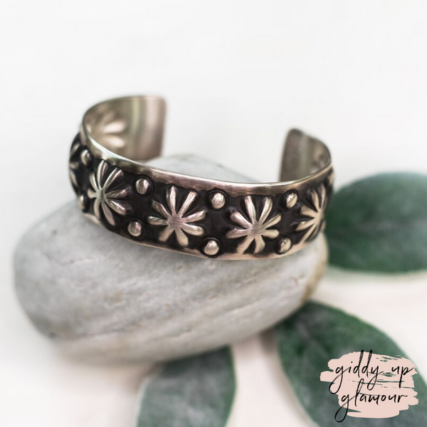 Emerson Bill | Handmade Genuine Oxidized Sterling Silver Starburst Cuff Bracelet