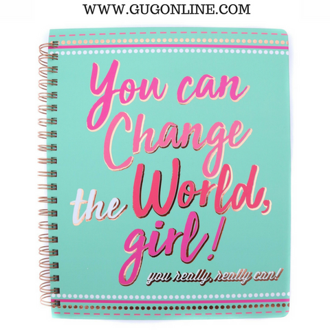 You Can Change the World Mint Spiral Notebook