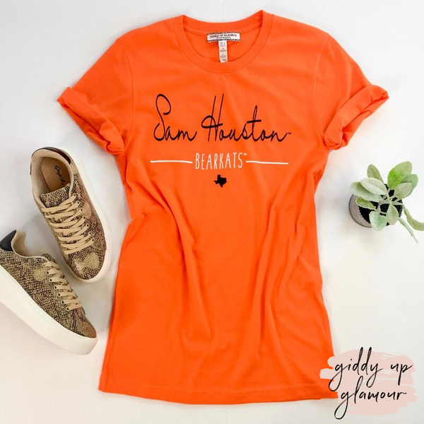 SHSU | Sam Houston Bearkats Cursive Short Sleeve Tee Shirt in Orange