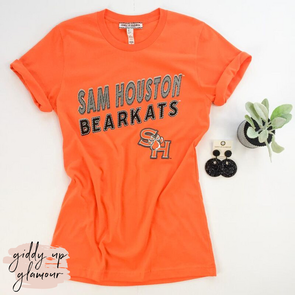 SHSU | Sam Houston Bearkats Block Letter Logo Short Sleeve Tee Shirt in Orange