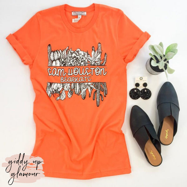 SHSU | Sam Houston Bearkats Cactus Short Sleeve Tee Shirt in Orange
