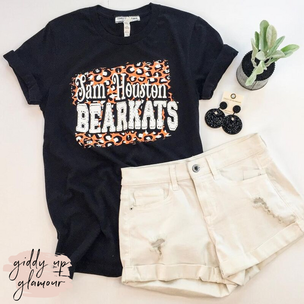 SHSU | Sam Houston Bearkats on Leopard Print Background Logo Short Sleeve Tee Shirt in Black