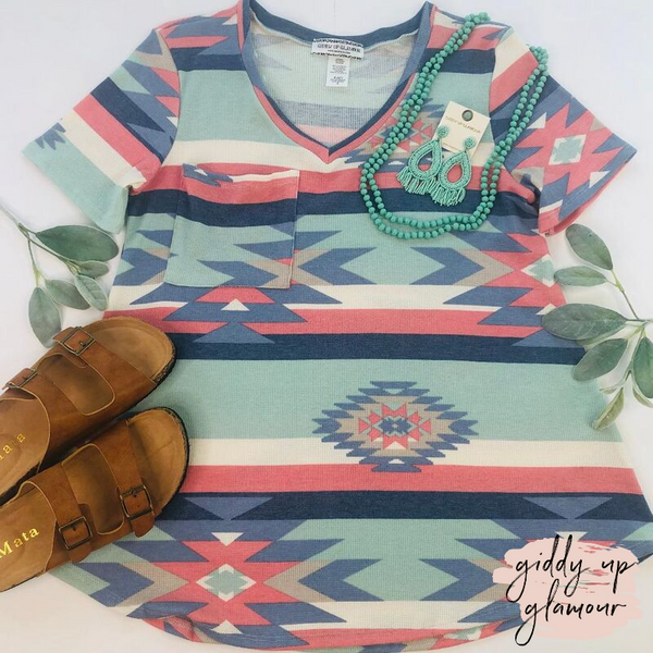 Just Right Short Sleeve Aztec Print Pocket Tee in Mint & Coral