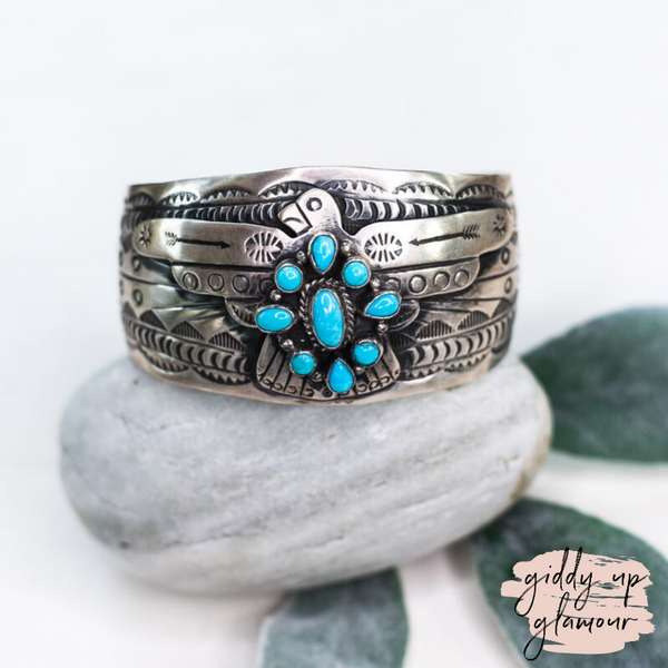 Marcella James | Authentic Navajo Sterling Silver Thunderbird Cuff Bracelet with Turquoise Cluster